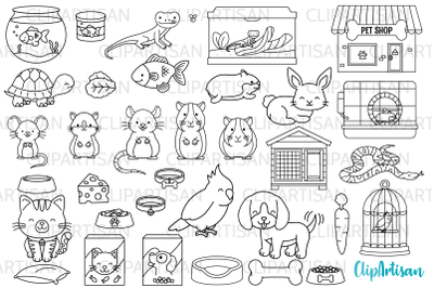 Pets Clipart, Pet Shop Digital Stamps, PNG SVG