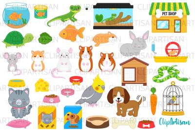 Pets Clipart, Pet Shop Clip Art, Puppy, Kitten, Goldfish PNG,
