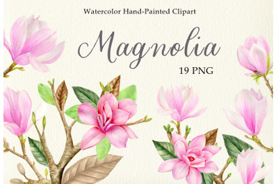 Watercolor pink magnolia floral clipart set. Spring flowers leaves PNG