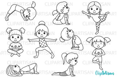 Yoga Clip Art, Yoga Poses Girls, Yoga Digital Stamps