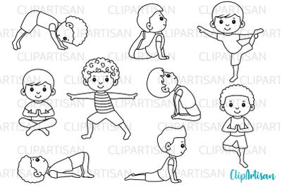 Yoga Clip Art, Yoga Poses Boys, Yoga Digital Stamps