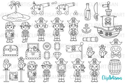 Pirate Clip Art, Pirates, Pirate Digital Stamps