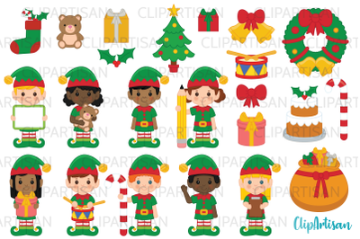 Christmas Elves Clipart, Santa's Workshop, Elf Clip Art