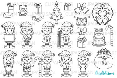 Christmas Elves Clipart, Santa's Workshop, Digital Stamps