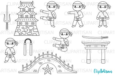 Ninja Clipart, Cute Ninjas Digital Stamps