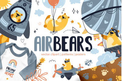 Air Bears kids vector clipart