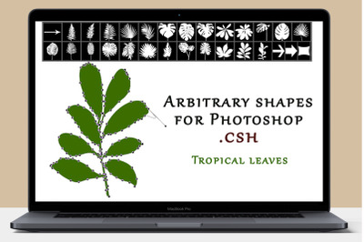 Tropical leaves. Shapes for Photoshop