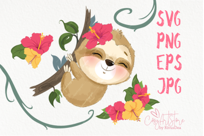 Cute Sloth SVG file download. Tropical baby animals PNG clipart.