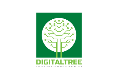 Digital Tree - Electronic Chip - Logo