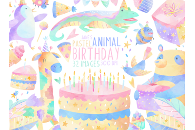 Watercolor Birthday Animals Clipart