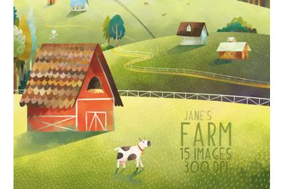 Watercolor Farm Scene Clipart