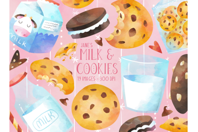 Watercolor Milk and Cookies Clipart