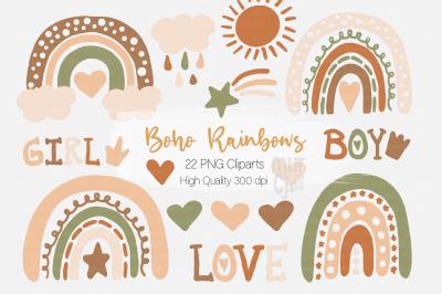 Boho Rainbows Cliparts