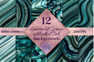 Emerald Green Alcohol Ink Backgrounds - 12 Image Set