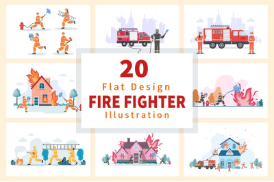 20 Group of Firefighters Illustration