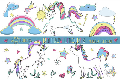Rainbow unicorns nursery clipart.