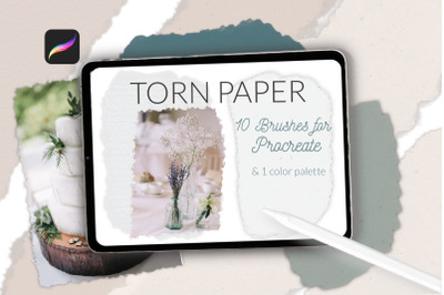 Torn paper brushes for Procreate, edge paper, scrapbooking