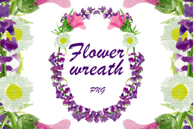 Watercolor floral frame, Border wreath clipart