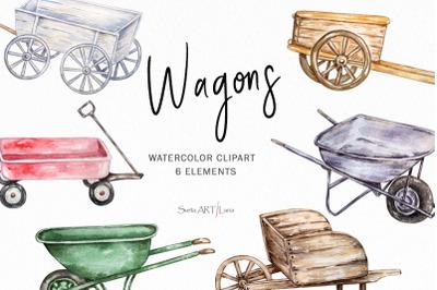 Watercolor Wagons and Carts Clipart