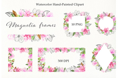 Watercolor pink magnolia frames clipart set. Hand painted spring PNG