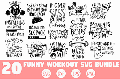 Funny Workout SVG Bundle, Fitness SVG, Gym SVG