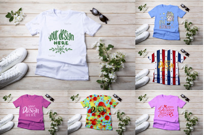 Womens T-shirt mockup with apple blossom.