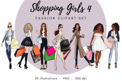 Shopping Girls 4 Fashion Clipart Set