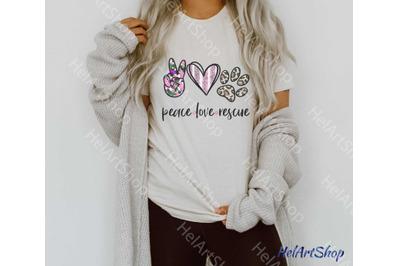 Peace love Rescue Png, Sublimation Png