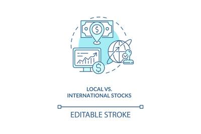 Local vs. international stocks concept icon
