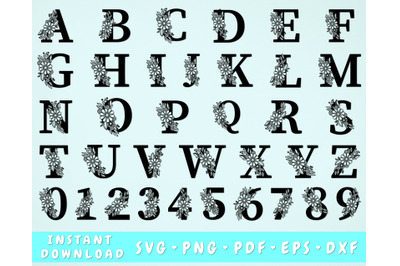 Floral Alphabet SVG, Flower Letters SVG