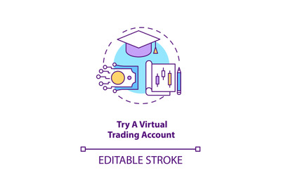 Trying virtual trading account concept icon