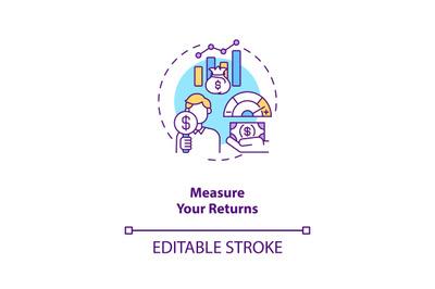 Measuring returns concept icon