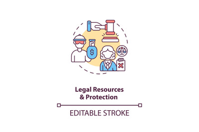 Legal resources and protection concept icon