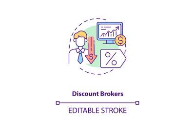 Discount brokers concept icon