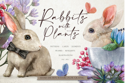 Rabbits and flowers collection