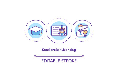Stockbroker licensing concept icon