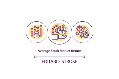 Average stock market return concept icon