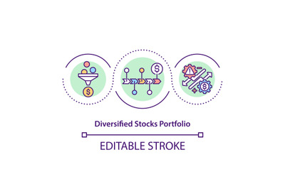 Diversified stocks portfolio concept icon