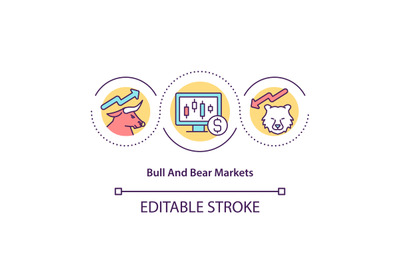 Bull and bear markets concept icon