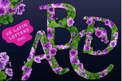 Floral alphabet. Letters