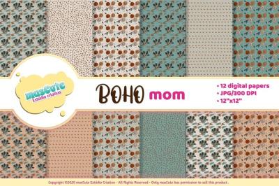 Boho mom, mothers day digital paper