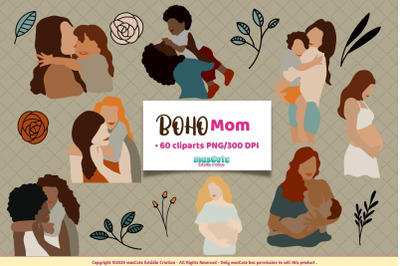 Boho mom, mothers day clipart