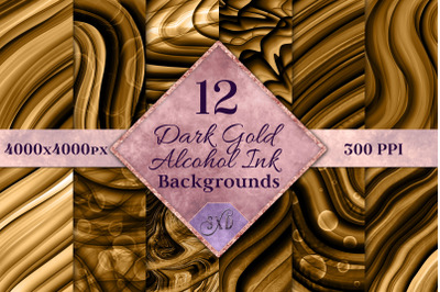 Dark Gold Alcohol Ink Backgrounds - 12 Image Set