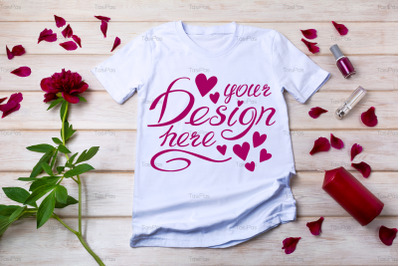 Women T-shirt mockup with red peony.