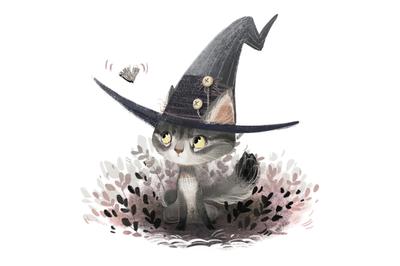 Halloween felt witch hat clipart - Cute wizard clipart