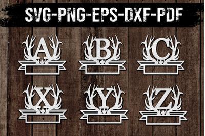 Customizable 26 A-Z Antlers Font Papercut Bundle , DXF, SVG, PDF