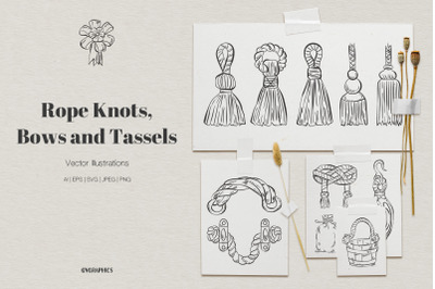 Rope Knots, Bows and Tassels Vector Illustrations
