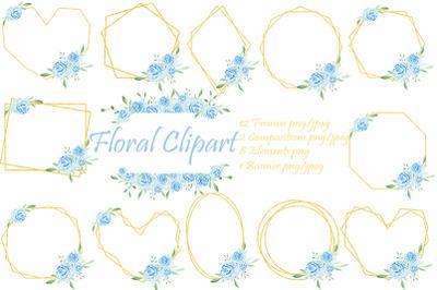 Frames gold flowers. Floral clipart. Watercolor bouquet.
