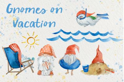 Gnomes on Vacation - Watercolor Clip Art Set