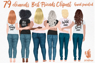 Best Friends clipart Girl illustrations Girly Planner Bff